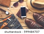 travel clothing accessories... | Shutterstock . vector #599484707