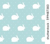 cute rabbit seamless pattern... | Shutterstock .eps vector #599487383