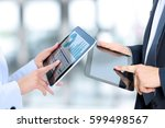 business colleagues working and ... | Shutterstock . vector #599498567