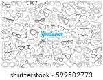 hand drawn spectacles shop... | Shutterstock .eps vector #599502773