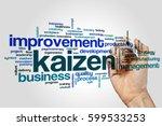 kaizen word cloud concept | Shutterstock . vector #599533253