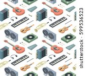 music  vector isometric... | Shutterstock .eps vector #599536523