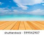 natural wooden floor with sea... | Shutterstock . vector #599542907