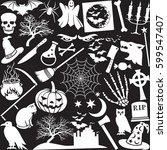 halloween icons pattern ... | Shutterstock .eps vector #599547407