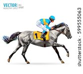 jockey on horse. champion.... | Shutterstock .eps vector #599555063