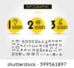 three yellow infographic rings... | Shutterstock .eps vector #599561897