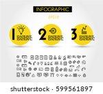 three yellow infographic rings... | Shutterstock .eps vector #599561897