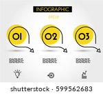 three yellow circle steps with... | Shutterstock .eps vector #599562683