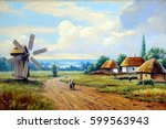 village  house and windmill ... | Shutterstock . vector #599563943