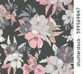 pink blossom vector seamless... | Shutterstock .eps vector #599569847