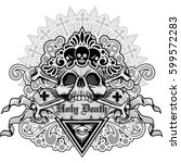 gothic coat of arms with skull  ... | Shutterstock .eps vector #599572283