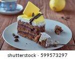 delicious dessert cake with... | Shutterstock . vector #599573297
