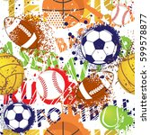 seamless sport pattern with... | Shutterstock .eps vector #599578877