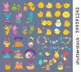 easter vector design elements... | Shutterstock .eps vector #599591243