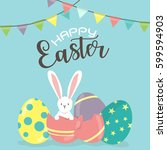 happy easter day  holiday... | Shutterstock .eps vector #599594903