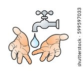 color water tap with hands... | Shutterstock .eps vector #599597033