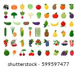 large color set of vegetables ... | Shutterstock .eps vector #599597477