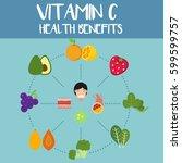 health benefits of vitamin c... | Shutterstock .eps vector #599599757
