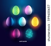 a set of glowing abstract... | Shutterstock .eps vector #599600657