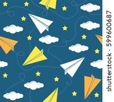 paper airplane seamless pattern ... | Shutterstock .eps vector #599600687
