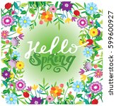 spring template   flower  leaf. ... | Shutterstock .eps vector #599600927