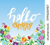 spring template   flower  leaf. ... | Shutterstock .eps vector #599600987