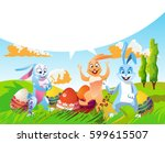 easter rabbit with painted eggs.... | Shutterstock .eps vector #599615507