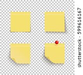 set of yellow sticky notes with ... | Shutterstock .eps vector #599616167