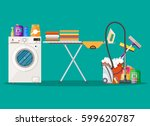 cleaning and laundry set. mop ... | Shutterstock . vector #599620787
