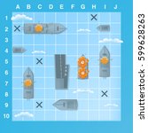 sea battle game elements with... | Shutterstock .eps vector #599628263