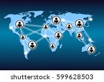world map and network connection | Shutterstock . vector #599628503