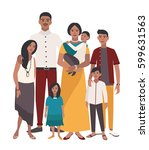 large family portrait. indian... | Shutterstock .eps vector #599631563