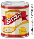 organic soup in aluminum can... | Shutterstock .eps vector #599634593