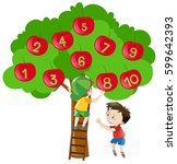 counting numbers with apples on ... | Shutterstock .eps vector #599642393