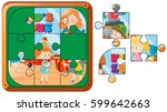 jigsaw puzzle game with kids in ... | Shutterstock .eps vector #599642663