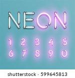 glowing neon font set   vector... | Shutterstock .eps vector #599645813