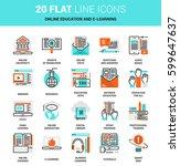 vector set of online education... | Shutterstock .eps vector #599647637
