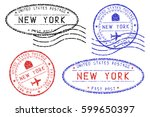 new york mail stamps collection.... | Shutterstock .eps vector #599650397