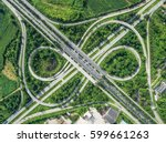 road beautiful aerial view of... | Shutterstock . vector #599661263