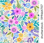 amazing seamless floral pattern ... | Shutterstock .eps vector #599664707