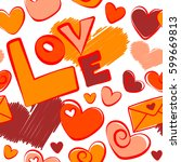 seamless pattern valentine... | Shutterstock . vector #599669813