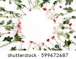 wreath frame of red and white... | Shutterstock . vector #599672687