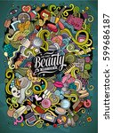 cartoon cute doodles hand drawn ... | Shutterstock .eps vector #599686187