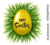 easter round banner background... | Shutterstock .eps vector #599689943