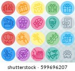 simple set of gifts related.... | Shutterstock .eps vector #599696207