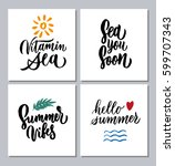 quotes and phrases about summer ... | Shutterstock .eps vector #599707343