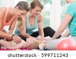 young women practicing how to... | Shutterstock . vector #599711243