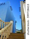 Small photo of Classical Greek architecture on Cyprus at dawn staircase, white and blue wall