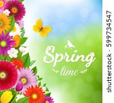 spring time postcard with... | Shutterstock .eps vector #599734547