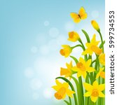 spring cart with narcissus with ... | Shutterstock .eps vector #599734553